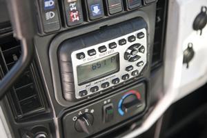Radio on Bobcat 3600 utility vehicle.