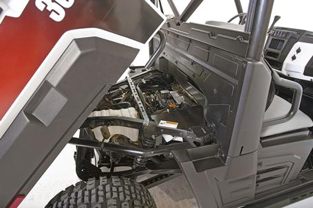 Bobcat utility vehicle service access and suspension.
