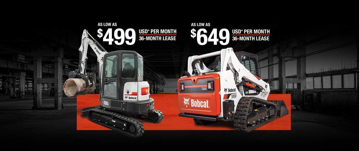Bobcat E35i compact excavator and T595 compact track loader with a leasing offer promotion.