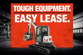 Bobcat compact excavator leasing offer badge.