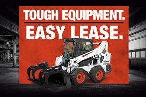Bobcat skid-steer loader leasing offer badge.