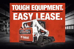 Bobcat compact track loader leasing offer badge.