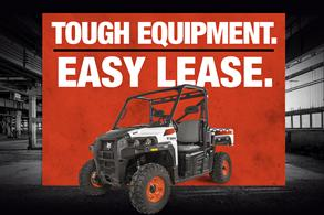 Bobcat utility vehicle (UTV) leasing offer badge.