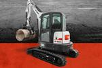 Leasing badge with Bobcat E35i compact (mini) excavator.