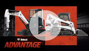 Bobcat E35 compact excavator and T595 compact track loader with a leasing offer promotion.