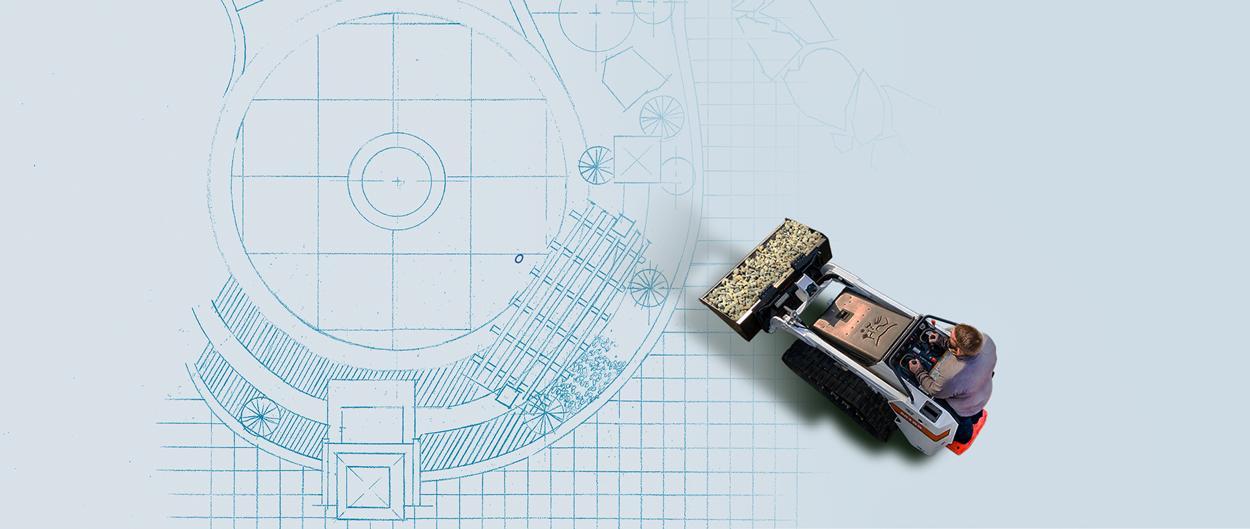 Bobcat MT85 mini track loader on a landscaping blueprint.