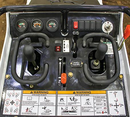 Closeup of controls on Bobcat MT85 mini track loader.