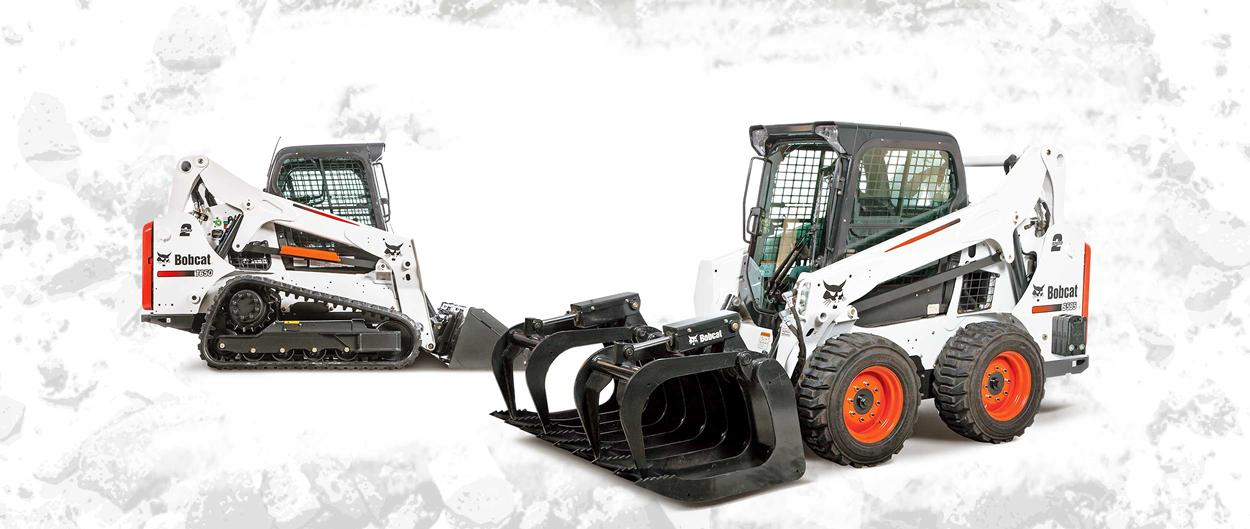 Bobcat T650 compact track loader and S595 skid-steer loader with grapple attachment on a white background.