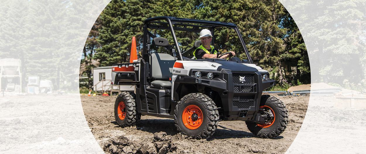 Bobcat 3400 utility vehicle (UTV) moving through a construction site.