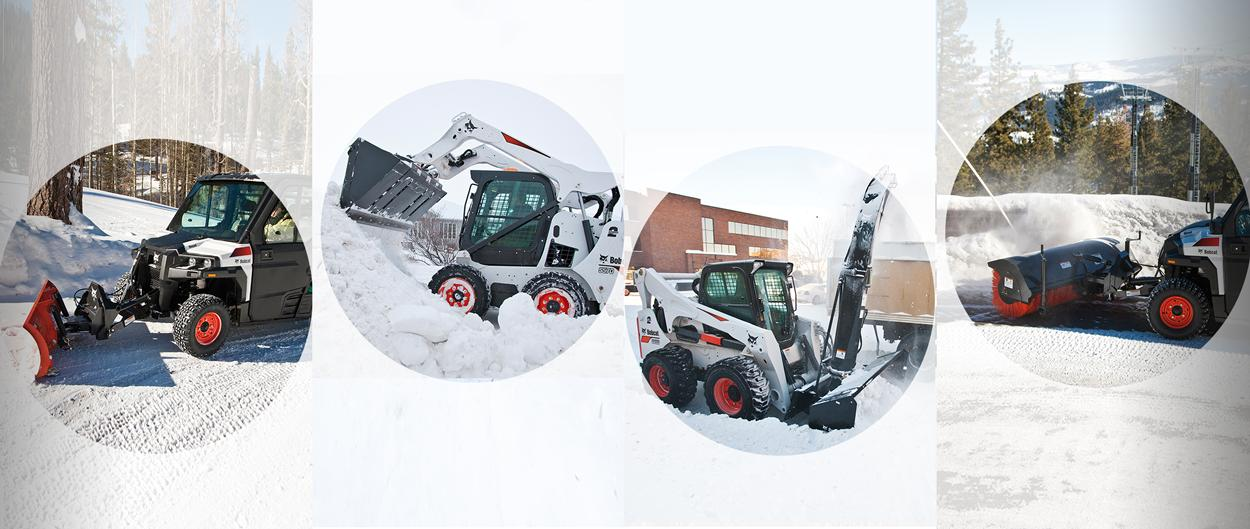 Bobcat 3650 utility vehicles (utv) with snow blade and angle broom attachments, Bobcat S850 Skid-Steer Loader with snow blower attachment, Bobcat S570 Skid-Steer Loader with bucket attachment operate in the snow.
