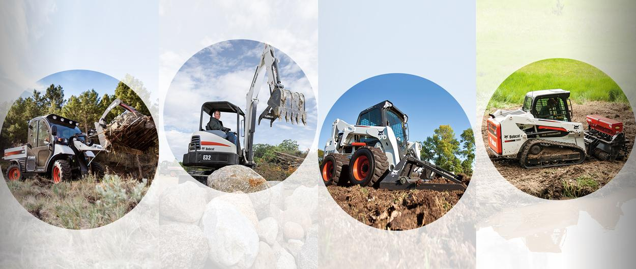 Multiple Bobcat machines, including Toolcat 5600, compact (mini) excavator, skid-steer loader and compact track loader.