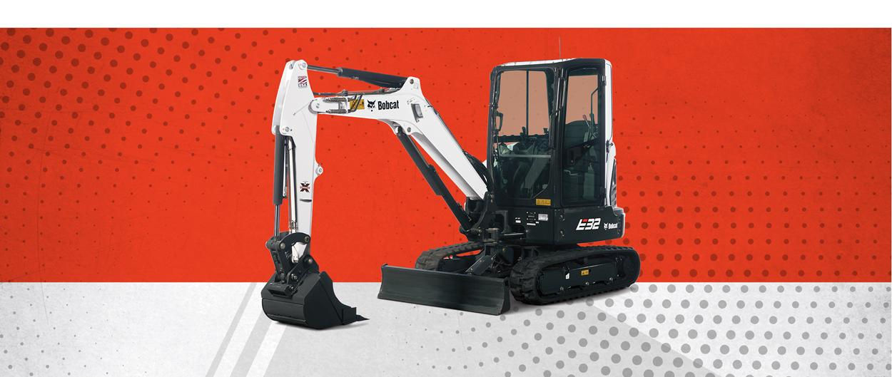 Bobcat E32 compact (mini) excavator and bucket attachment in a special offers promotion.