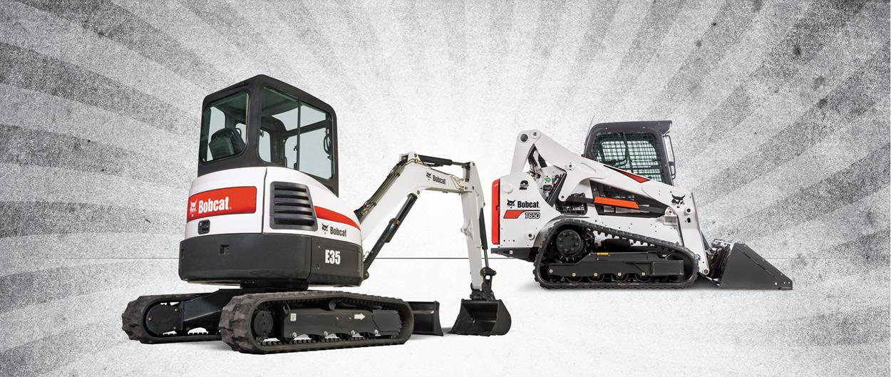 A Bobcat T650 loader and an E35 compact excavator.