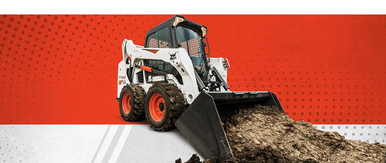 Bobcat S590 skid-steer loader and bucket attachment in a special offers promotion.