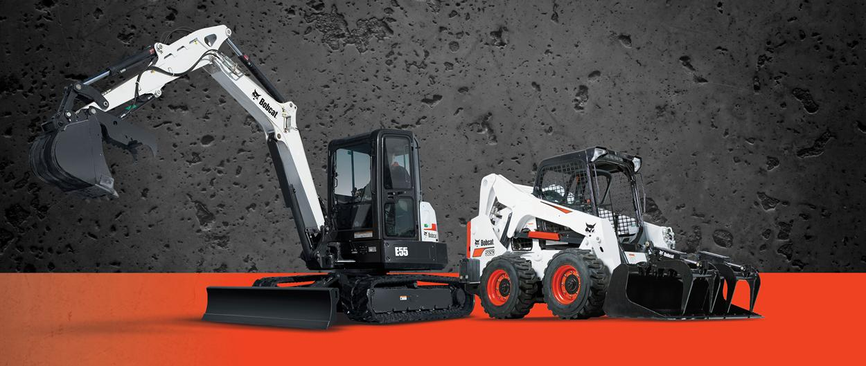 Bobcat S650 skid-steer loader and E55 compact (mini) excavator in a promotion for big tax deductions.