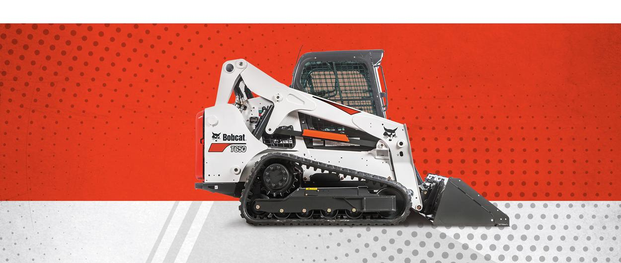 Bobcat T650 compact track loader and bucket attachment promotion.