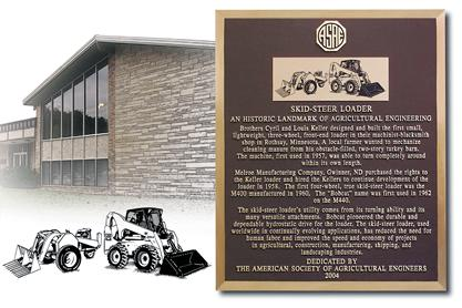 Award plaque for the invention and development of the skid-steer loader from the American Society of Agricultural and Biological Engineers.