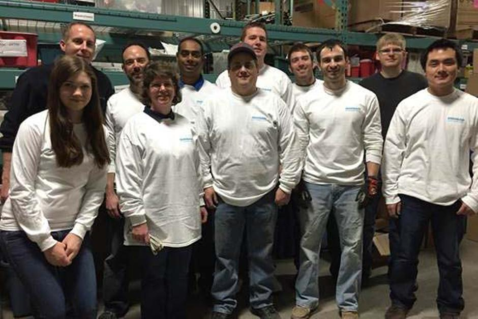 A group of West Fargo Doosan employees who participated in the 2014 Doosan Day of Caring.