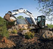 Bobcat Excavator with Hydraulic Clamp attachment