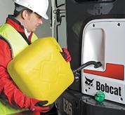 Bobcat compact excavator (mini excavator) with fuel fill alert.
