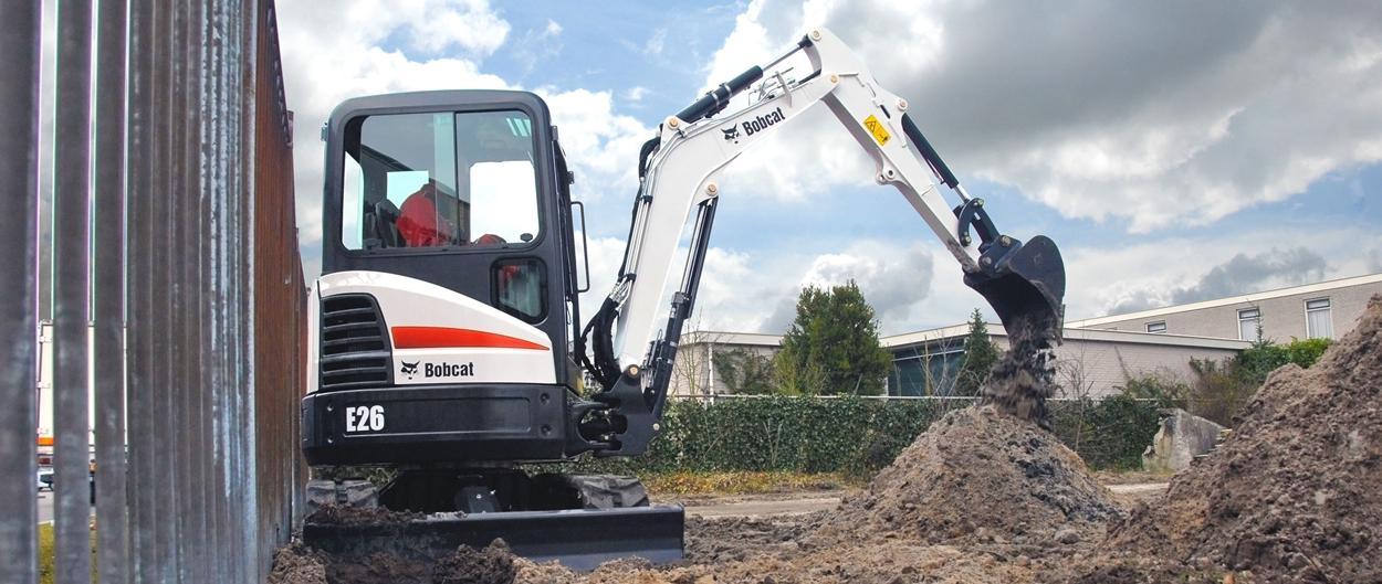 Bobcat E26 compact excavator (mini excavator) with minimal tail swing.