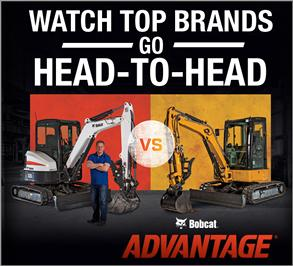 Bobcat Advantage promotion featuring two compact excavators.