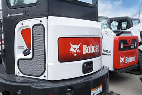 Bobcat excavator exterior engine compartment door.
