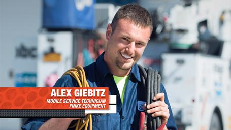 Finke Equipment's Bobcat mobile service technician Alex Giebitz.