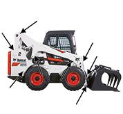 Lift arm pivot grease point access on Bobcat compact track loaders and skid-steer loaders.