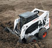 Bobcat skid-steer loader with bucket.