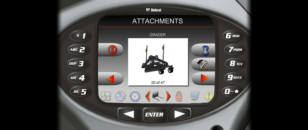 Attachment monitoring on Bobcat loader with Deluxe Instrument Panel.