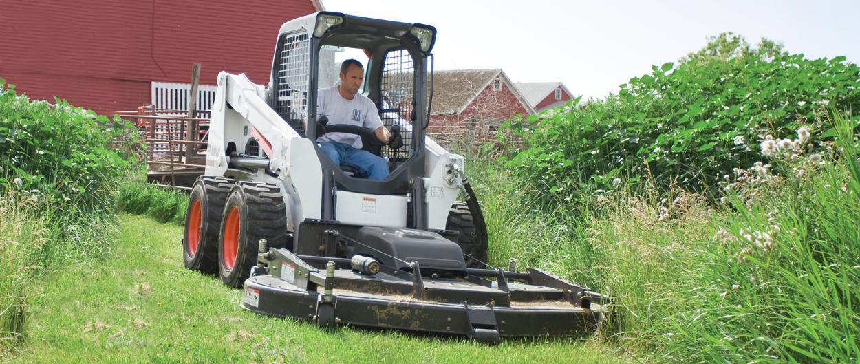 Bobcat mower attachment with selectable joystick controls (SJC).