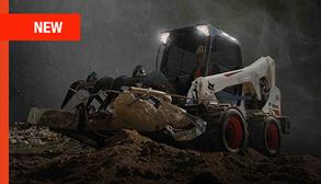 Bobcat skid-steer loader moving debris in an M2-Series promotion.
