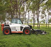 Bobcat V417 VersaHANDLER (telehandler) telescopic tool carrier with mower attachment.