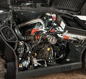 The engine inside a VersaHANDLER V519 telehandler.