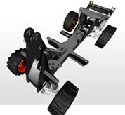 A mechanical rendering shows the design of the rigid spine frame on the Toolcat utility work machine.