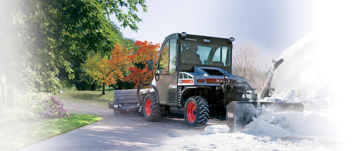 Bobcat Toolcat 5610 utility work machine with attachments taking on winter and summer grounds maintenance jobs in a composite picture.