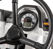 Close-up photo of the speedometer and digital display on utility vehicles.