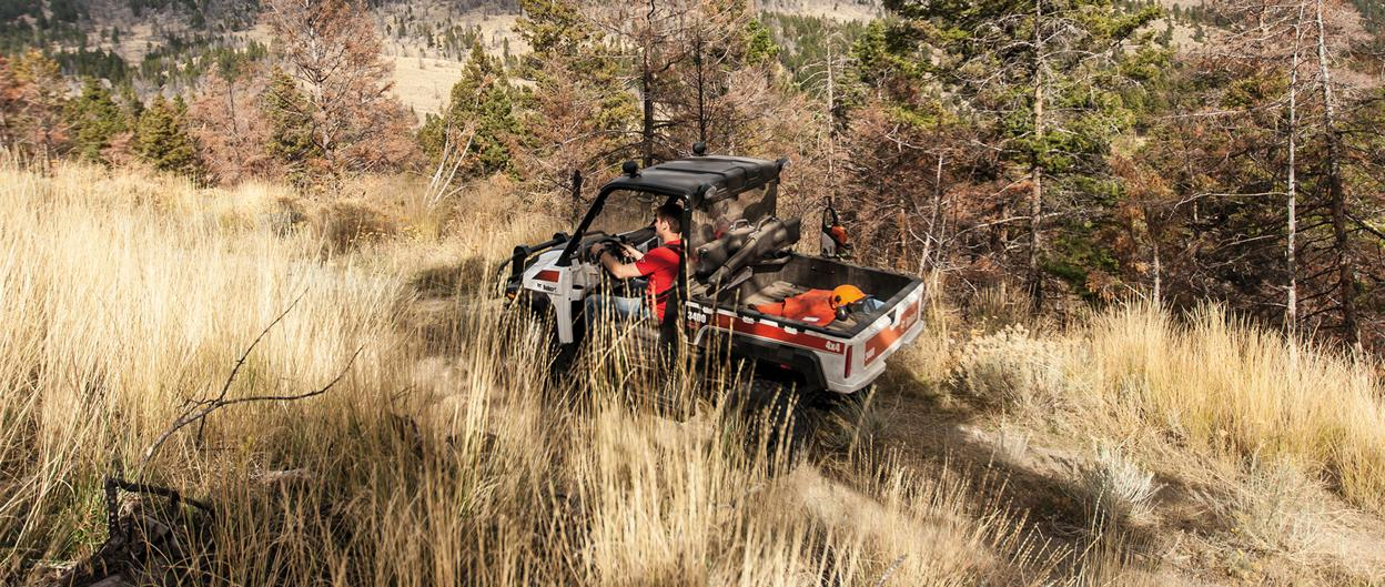 Bobcat 3400 UTV driving on a mountain trail.