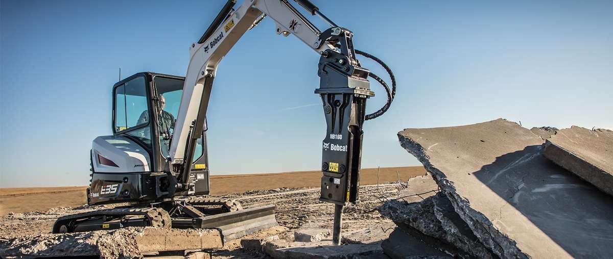 A Bobcat E35 excavator with breaker attachment.