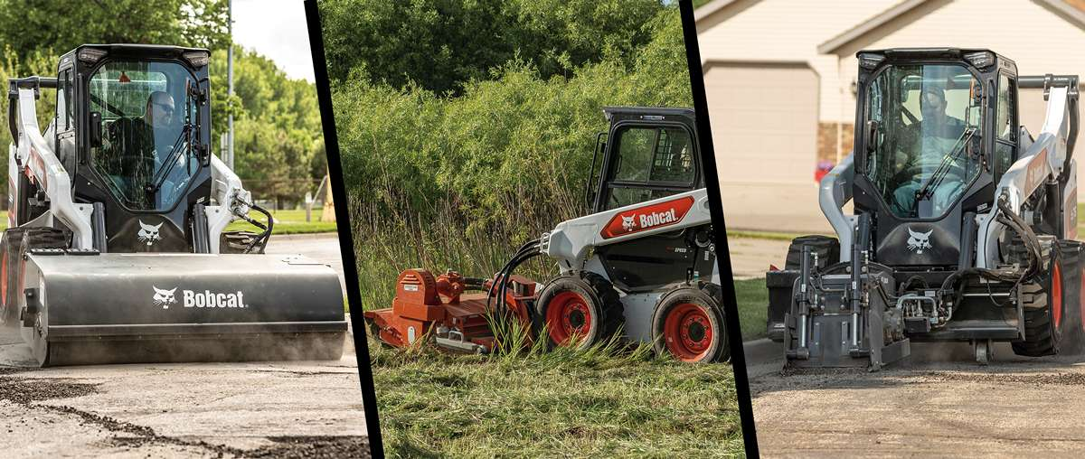 Array of Bobcat Attachments On A Bobcat Compact Skid-Steer Loader.
