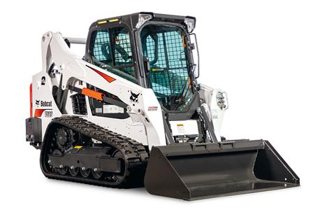 Bobcat T595 compact track loader with a standard duty bucket.