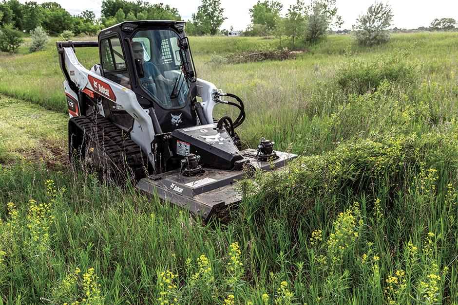Bobcat Compact Track Loader With Brushcat Rotary Cutter Attachment Clears Overgrown Brush On Acreage