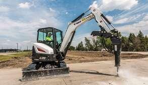Bobcat E35 Compact Excavator With Breaker Attachment On Jobsite.