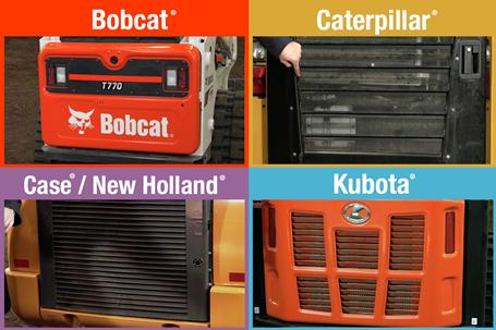 Four images compare tailgate durability on Bobcat, Kubota, Caterpillar, Case and New Holland loaders.