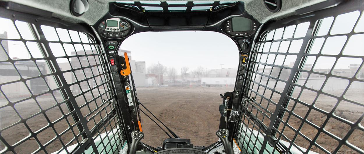 Premium cab interior on a Bobcat compact loader.