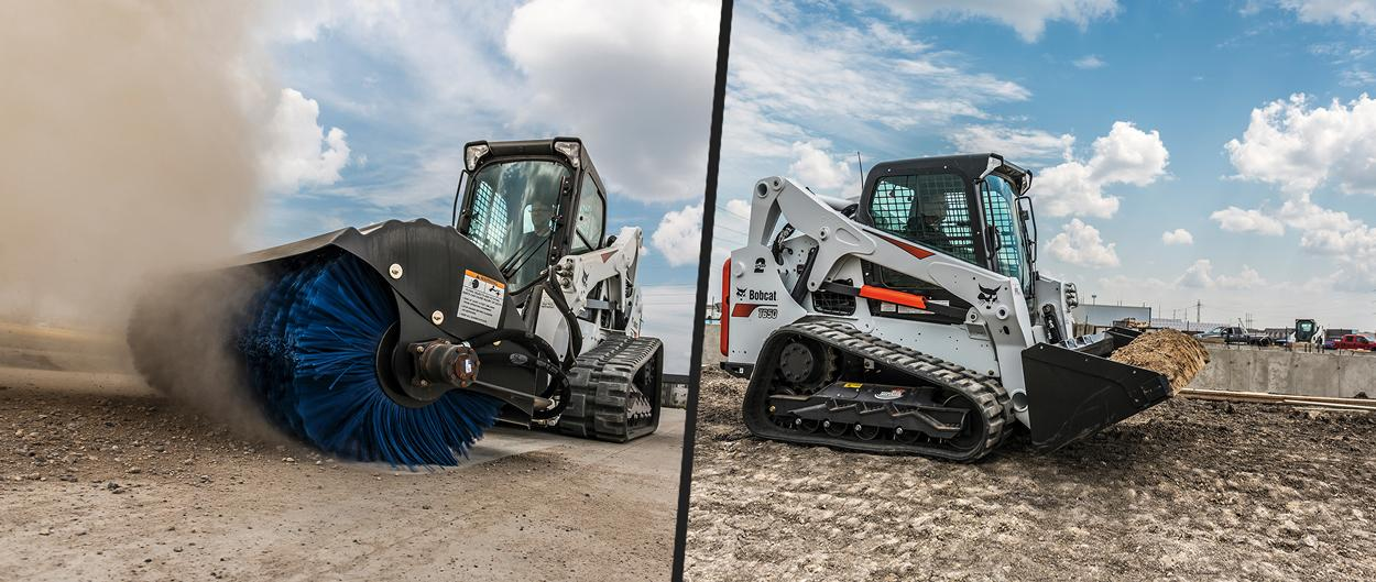 Bobcat T650 compact track loaders with an angle broom attachment and a bucket attachment.