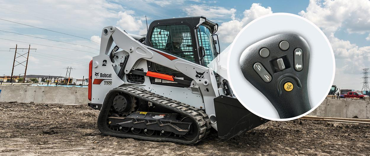 Bobcat T650 compact track loader with a callout to selectable joystick controls.