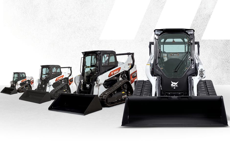 Graphic Featuring Lineup Of Four R-Series Compact Track Loaders With Bucket Attachments