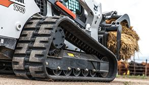 Bobcat T740 compact track loader with grapple attachment